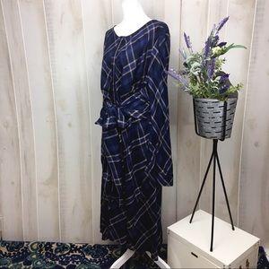 Lane Bryant Blue Plaid Tied Waist Dress